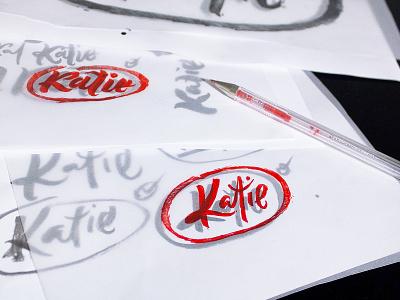 Katie_logotype lettering branding work in progress logotype brand logo fuentoovehuna type sketch typography