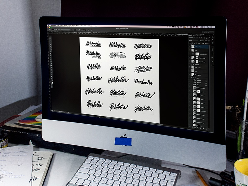 Herbolia / Behance project WIP type lettering logo logos work in progress