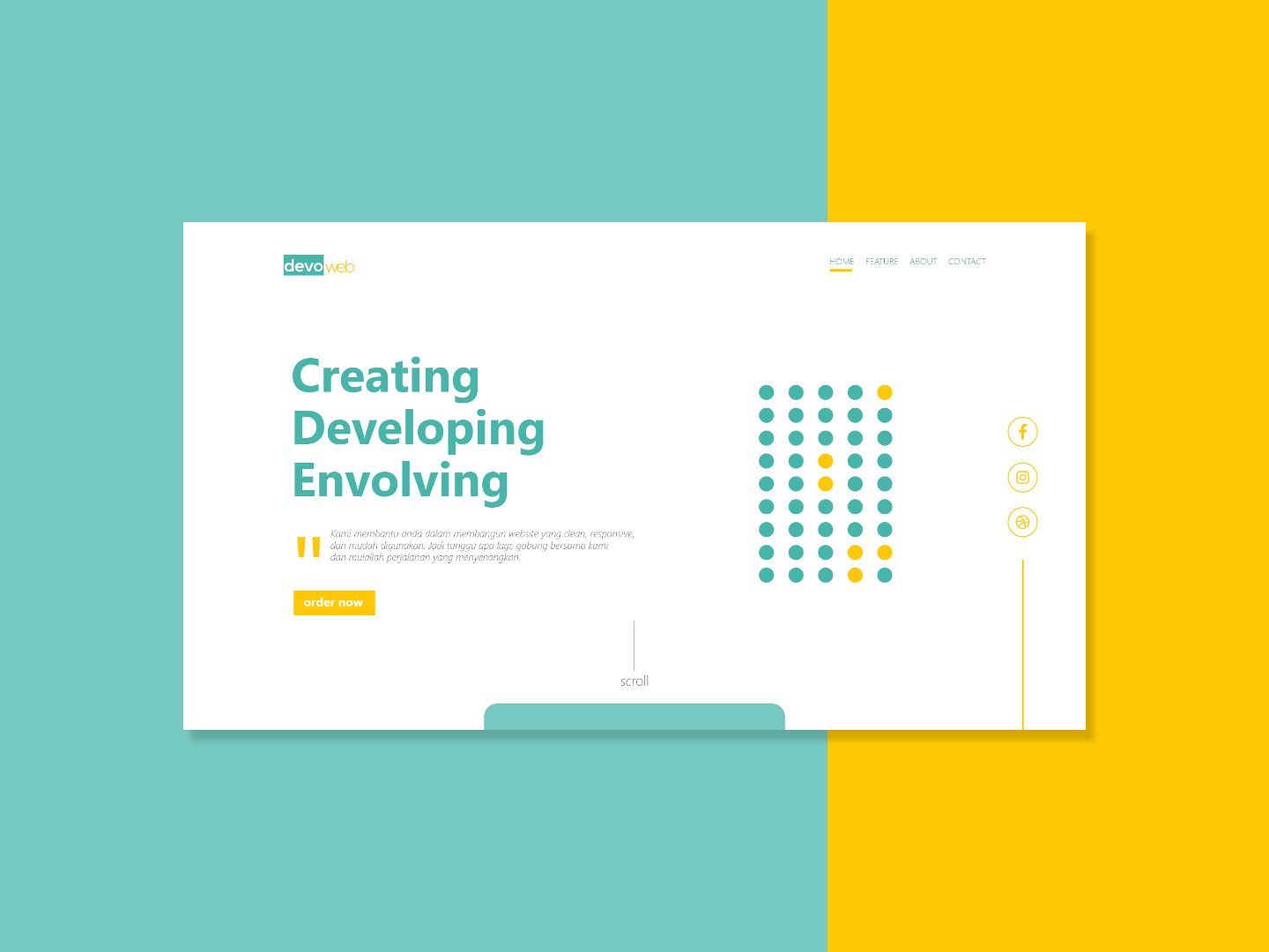 SImple Landing Page creative html5 css javascript bootstrap yellow colorful flat simpe clean