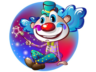 Сlown clown vector magic show magic card circus illustration design cartoon