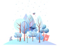 Gif Winter forest and animals