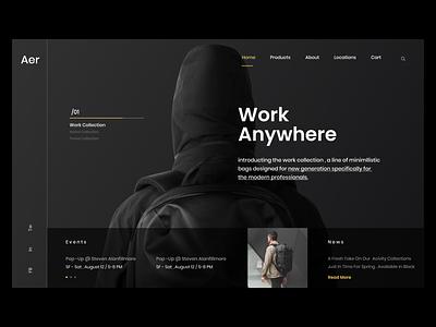 Aer UI concept For Bags bags ux ui  ux design web design uxdesign uiux ui uidesign