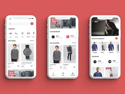 E-commerce Mobile Home screen ✨🎉😍 android ios mobile app shopping shop e-commerce illustration uxdesign ux uiux uidesign ui design web design