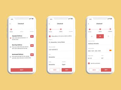 E-commerce Mobile Check Out  screens ✨🎉😍 figma xd android acessories fashion shopping shop e-commerce ios app illustration ux uxdesign ui uidesign uiux design web design