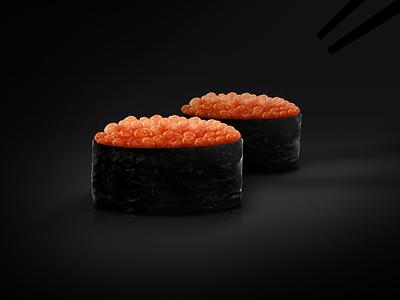 Ikura sushi dark sushi ikura skeumorphic illustration