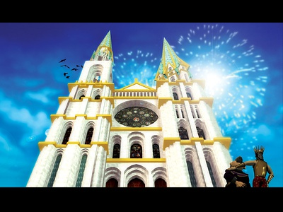 Chartres Cathedral castle king fireworks illustration 3d