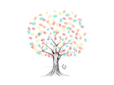Wedding Tree tree finger prints hearts wedding illustration