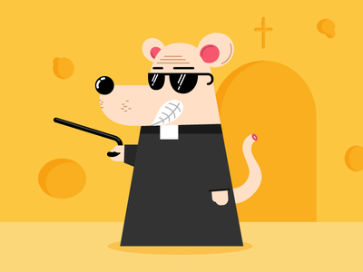 As Poor As A... mouse cheese blind illustration flat