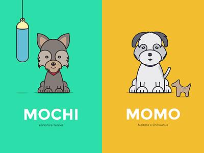 Momo & Mochi yorkshire puppy dog illustration maltese chihuahua