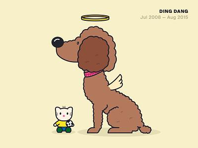 Rip Ding Dang line illustration rip poodle dog
