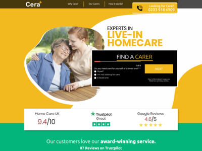Cera Care | Landing Page lead page lead generation landing page landing design cro