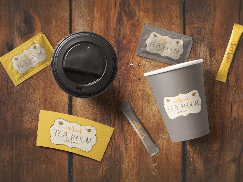 Branding design for Andrea's Tea Room hand lettering calligraphy animation website vintage business card design business card web vector typography logo lettering illustration design branding