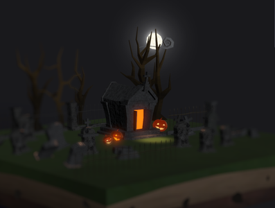 Working on a 3d Cemetery scene for halloween