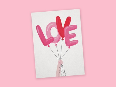 Valentine's Balloons greeting card pink balloons love stationery painting gouache illustration