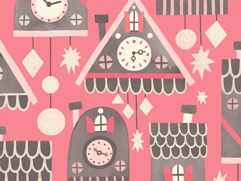 Cuckoo Clock Pattern illustration pattern cuckoo clock shapes colour fun