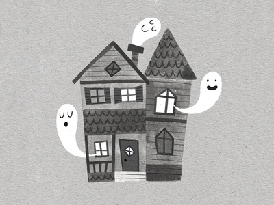 Haunted House illustration halloween drawlloween ghosts haunted house spooky black and white greyscale