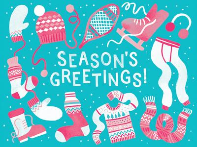 Season's Greetings illustration stationery holidays seasons greetings snow sweaters long johns mittens