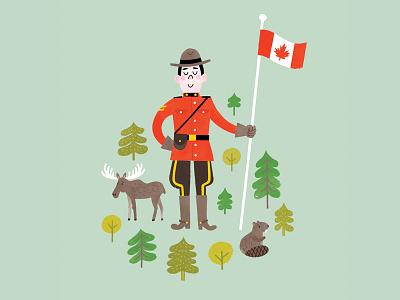Mountie super canadian moose beaver mountie canadiana illustration