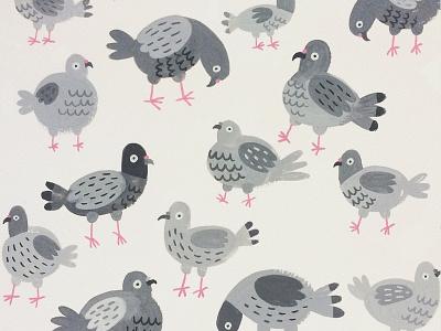 Pigeon Pattern pigeons gouache painting pattern illustration