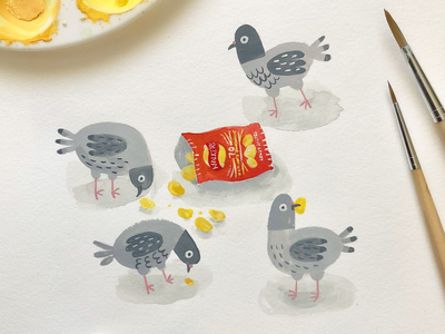 Crisps london crisps pigeons gouache illustration