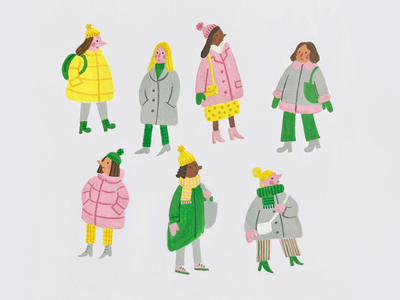 Bundled Up gouache painting tiny people cold limited palette ladies winter clothes winter illustration