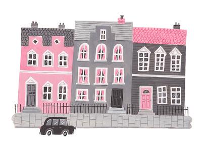 London Street limited palette greyscale buildings london gouache illustration
