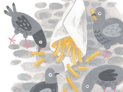 Spilled birds animals fun food fries pigeons gouache illustration
