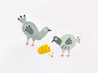 Baguette Buddies france baguette birds pigeons gouache painting illustration