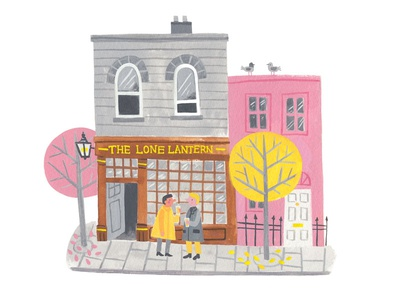 Happy Friday minimal palette building people happy friday friday london pub painting gouache illustration