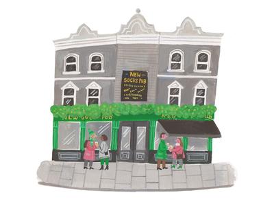 Happy Friday minimal palette buildings london fun friday pub painting gouache illustration