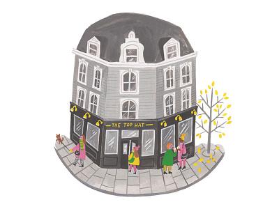 Happy Friday painted gouache friday greyscale building london pub illustration