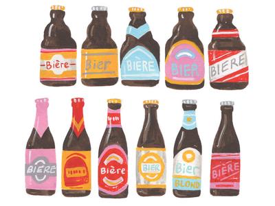 Belgian Beer colour beer label belgian beer belgium beer painted illustration