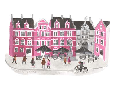 Ghent minimal palette gouache painting buildings belgium ghent city illustration