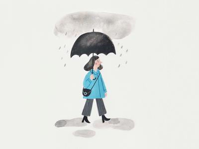 Rainy Day gouache clouds umbrella rain minimal palette painting illustration