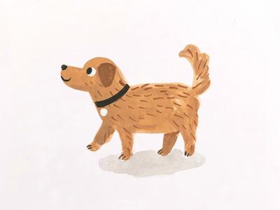 Dog cute fun gouache painting animal dog illustration
