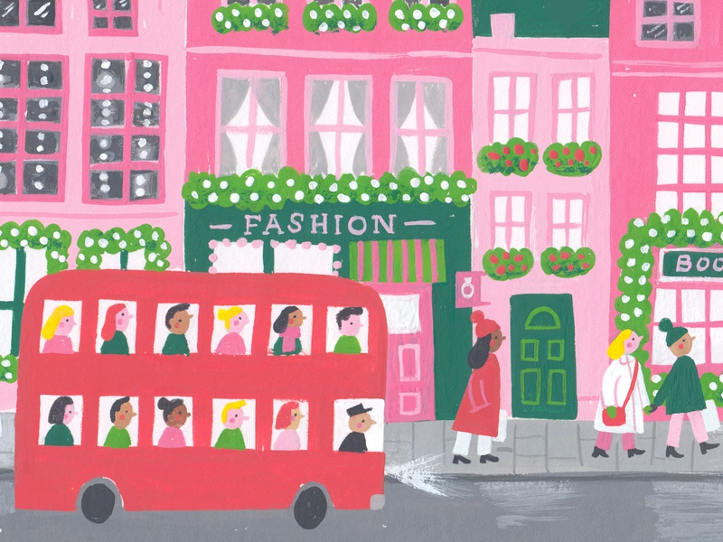 Holiday High Street (WIP) london painting gouache colour work in progress card shopping christmas holiday illustration
