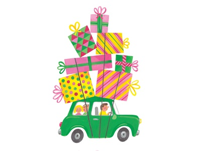Christmas Haul family colourful fun gouache festive holidays mini cooper christmas presents illustration
