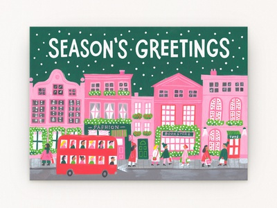 Holiday High Street holidays christmas minimal palette shopping london red bus festive high street painting gouache illustration greeting card