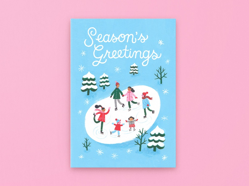 Season's Greetings Ice Skating limited palette festive holidays winter card ice skating gouache stationery design christmas card greeting card illustration