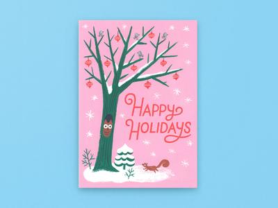 Happy Holidays Winter Scene