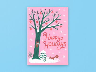 Happy Holidays Winter Scene bright minimal palette woodland holidays christmas greeting card holiday card stationery winter scene winter painting gouache illustration