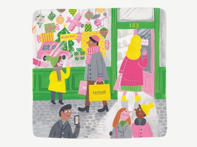High Street Shopping narrative people holidays christmas shopping high street painting gouache illustration