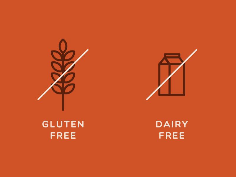 Gluten Free, Dairy Free Icons by Eleazar Ruiz on Dribbble
