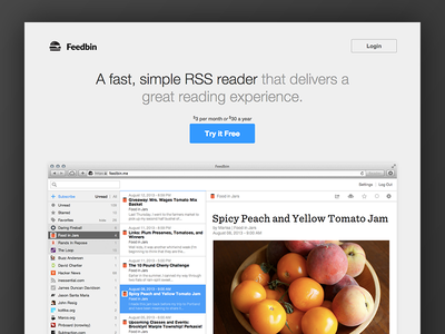 Feedbin Landing Page feedbin web design clean simple ui landing page
