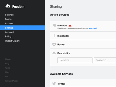 Feedbin Settings ui web app feedbin application rss settings product design