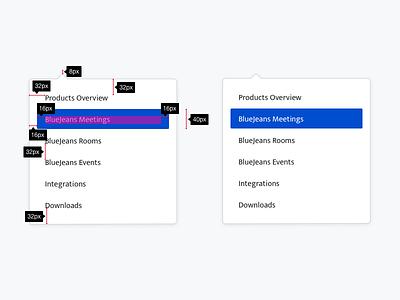 Menu design system ui system object list dropdown menu