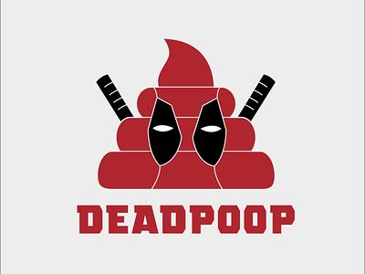 deadpoop poop dead comedy deadpool vector logo design illustration
