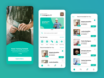 Tukang App workman color lean ux graphic design app mobile worker