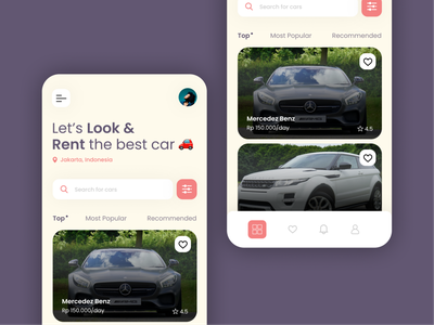 Car Rent App design red interface user interface ux vehicle rent car application app mobile ui