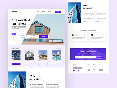 Real Estate Home Page UI Design - Rumahhh. rumahhh. graphic design ux website minimalism white purple rent buy house property ui web
